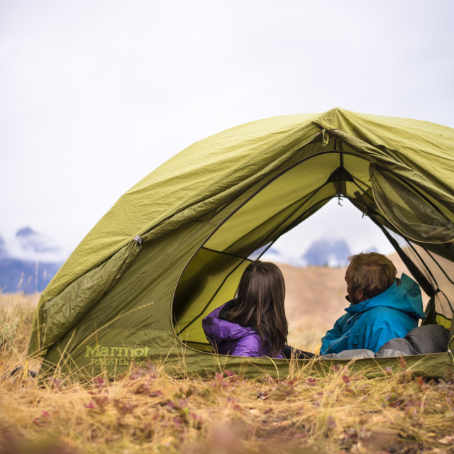 """Couple Camping in the American West"" stock image"