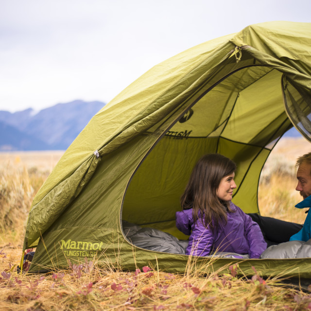 """Young Millennial Couple Camping in the American West"" stock image"