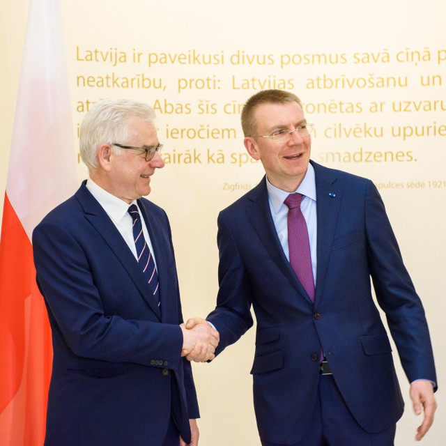 """Edgars Rinkevics, Minister of Foreign Affairs of Latvia Meeting with Jacek Czaputowicz, the Foreign Minister of Poland."" stock image"