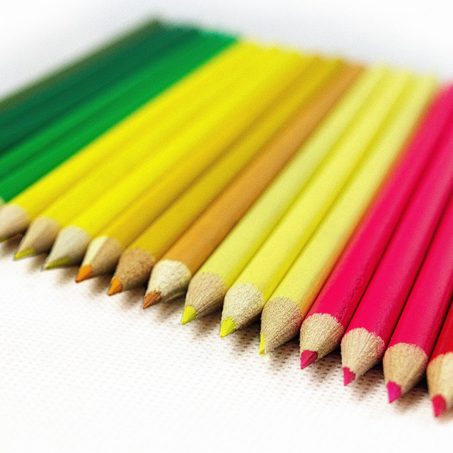 """Row of coloured pencils"" stock image"