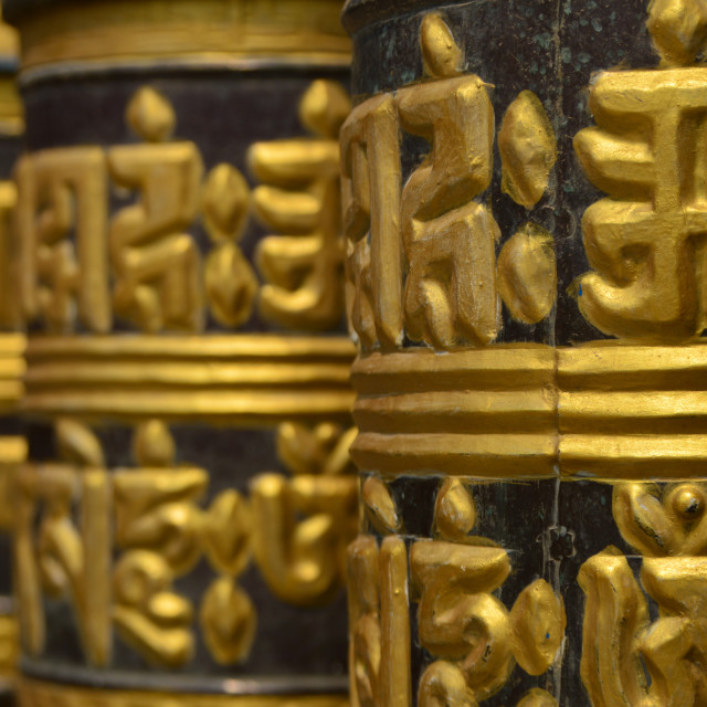 """Prayer Wheels Waiting"" stock image"