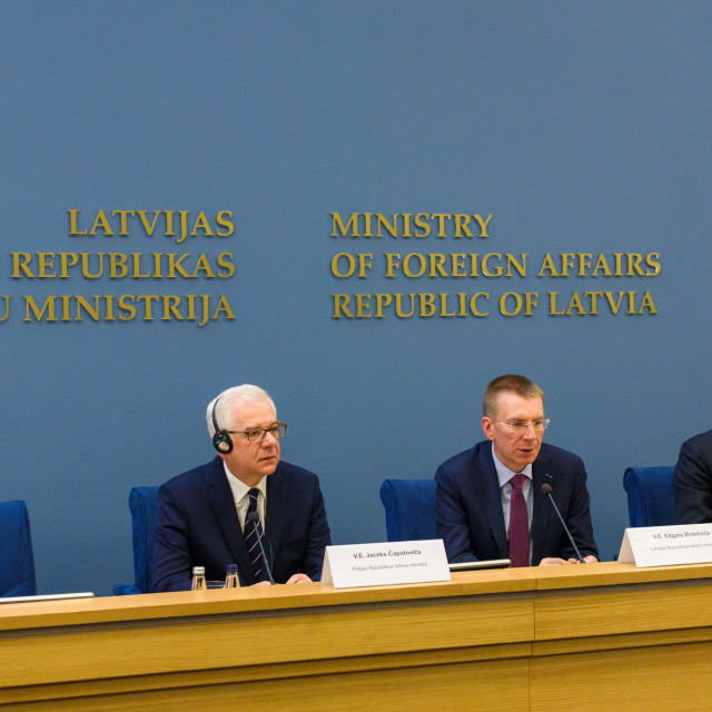 """Press conference after meeting of Edgars Rinkevics, Minister of Foreign Affairs of Latvia with Jacek Czaputowicz, the Foreign Minister of Poland."" stock image"