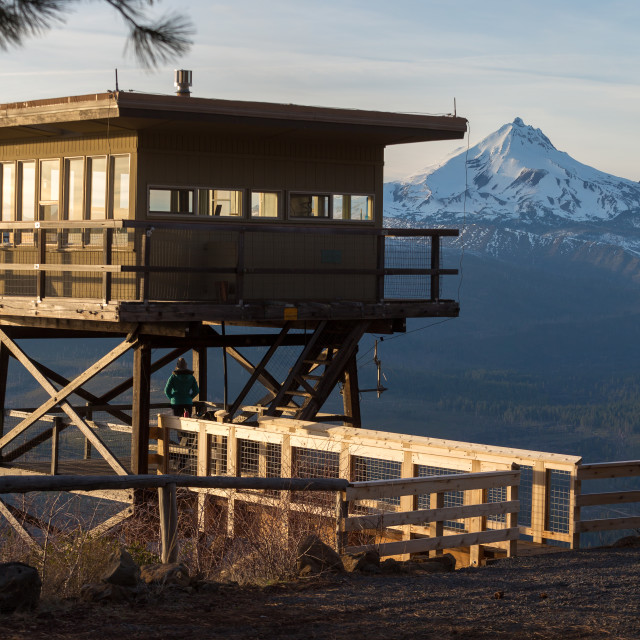 """Mountain Fire Lookout Tower"" stock image"