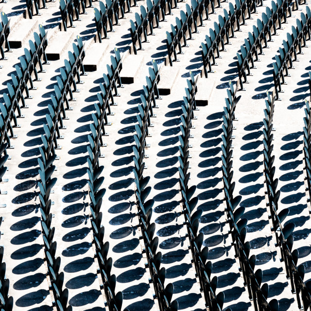 """""""Chairs in the audience in the amphitheater opaque background"""" stock image"""