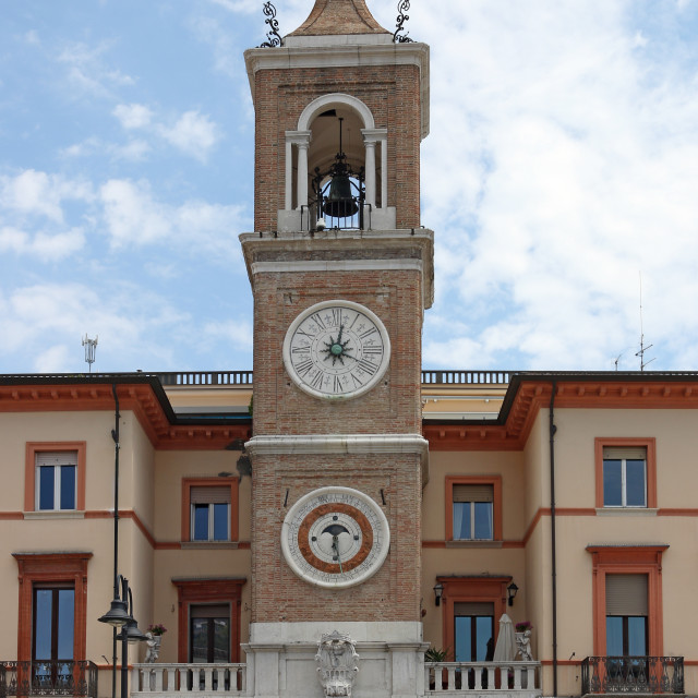 """clock tower Piazza Tre Martiri Rimini Italy"" stock image"