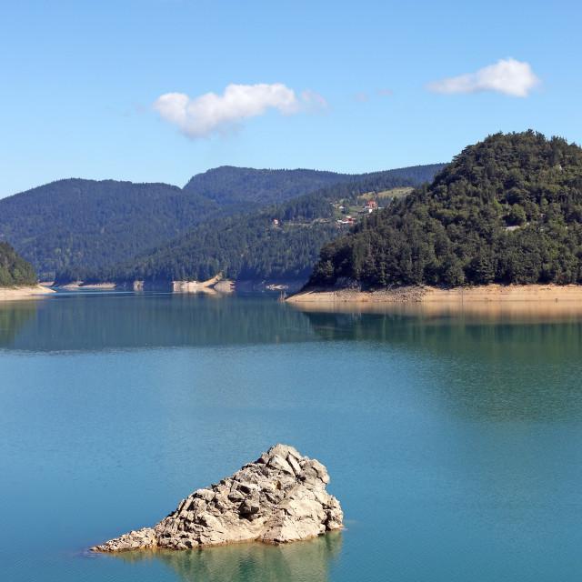 """""""mountain lake morning landscape nature"""" stock image"""