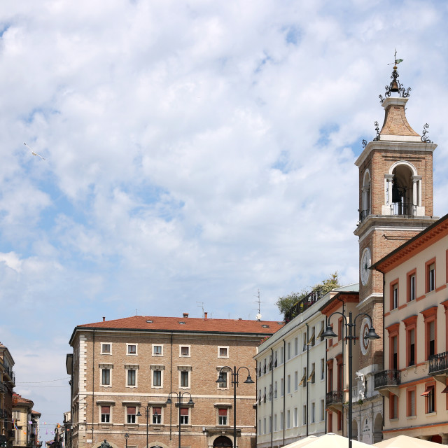 """""""old buildings and clock tower Piazza Tre Martiri Rimini Italy"""" stock image"""