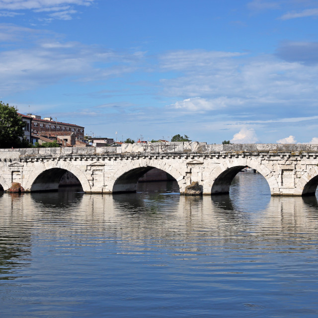 """old stone Tiberius bridge landmark Rimini Italy"" stock image"