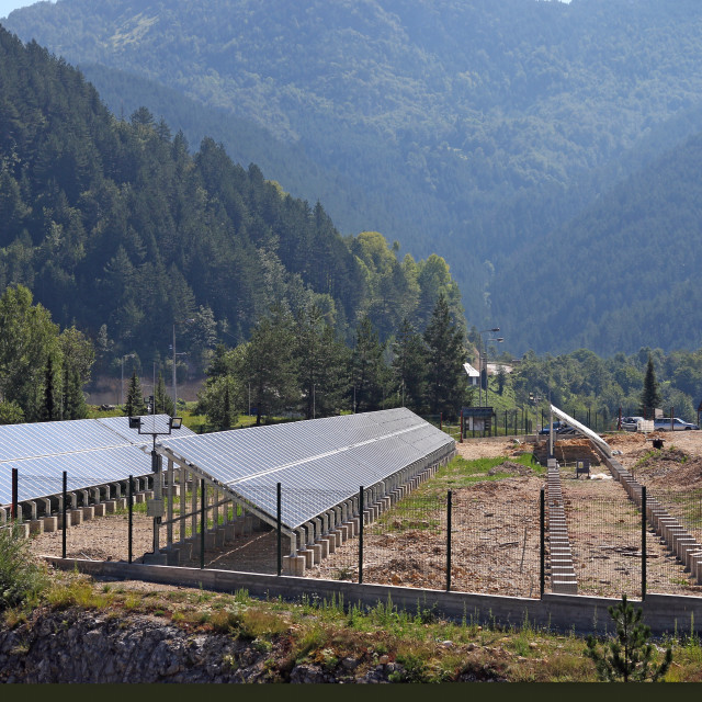 """""""solar panels construction site on mountain"""" stock image"""