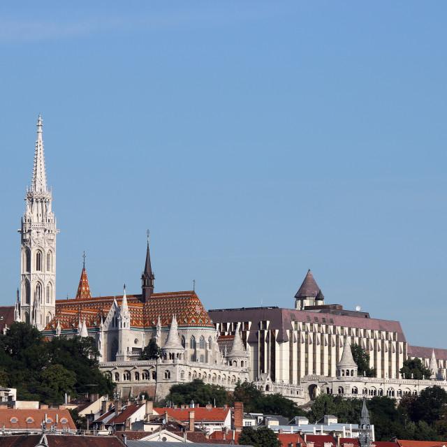 """Matthias church and Fisherman towers Budapest cityscape"" stock image"