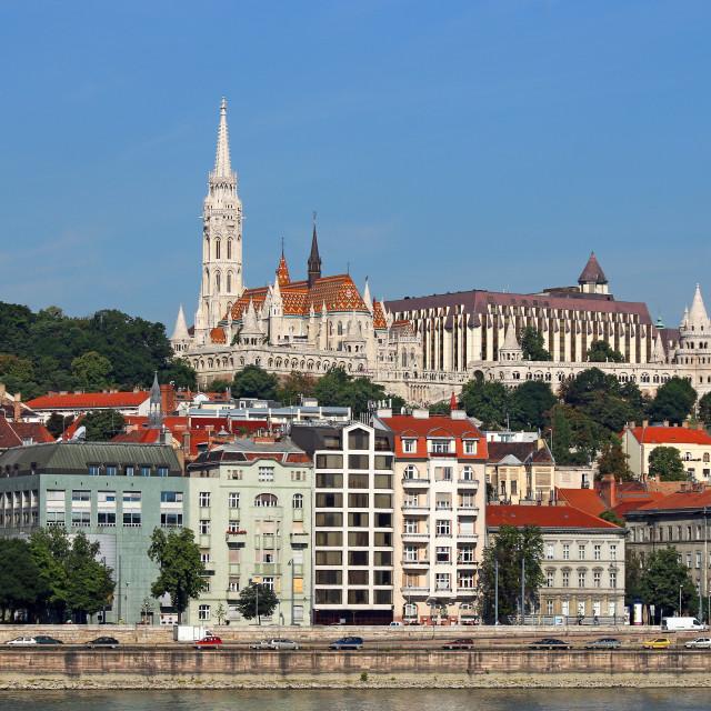 """Fisherman towers on Danube riverside Budapest Hungary"" stock image"