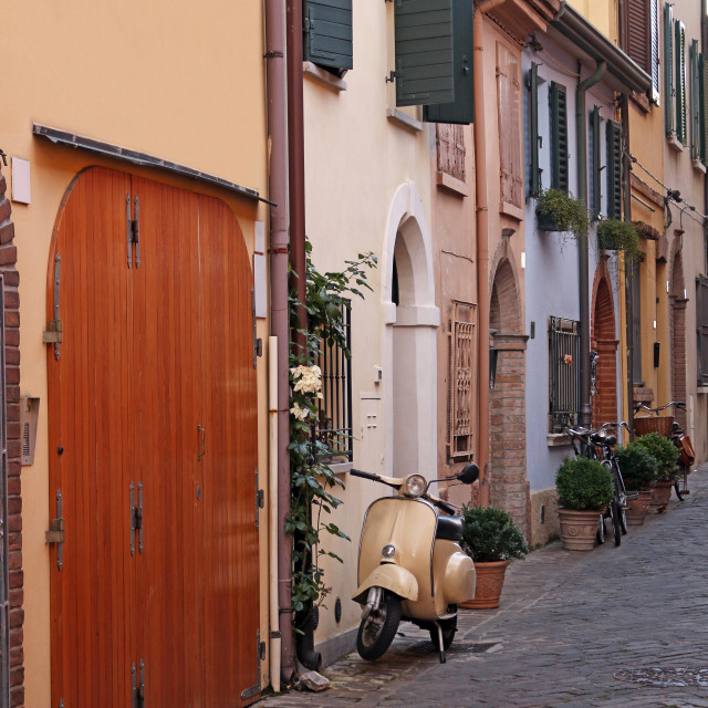 """street with scooter and old houses Rimini Italy"" stock image"
