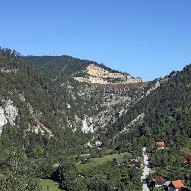 """village under stone dam Tara mountain Serbia"" stock image"