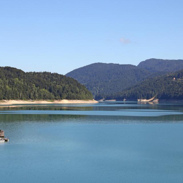 """Zaovine lake and hills landscape"" stock image"
