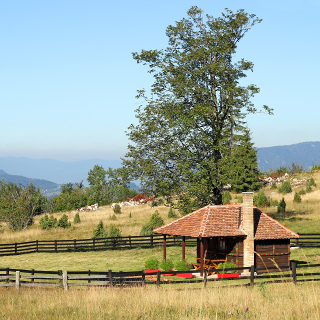 """""""wooden cottage on mountain landscape"""" stock image"""