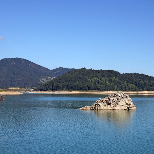 """Zaovine lake Tara mountain landscape"" stock image"