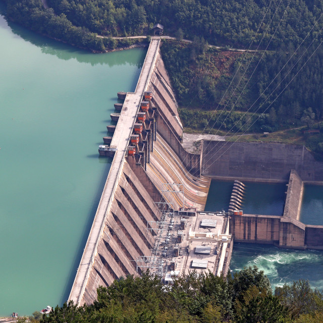 """hydroelectric power plant on river"" stock image"