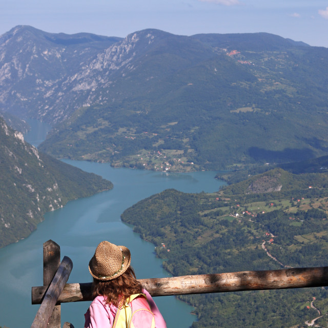 """""""little girl hiker on mountain viewpoint"""" stock image"""