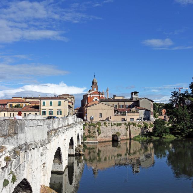 """Old town and Tiberius bridge Rimini Italy"" stock image"