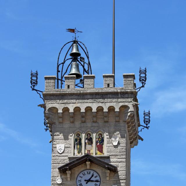 """Public palace bell tower San Marino Italy"" stock image"