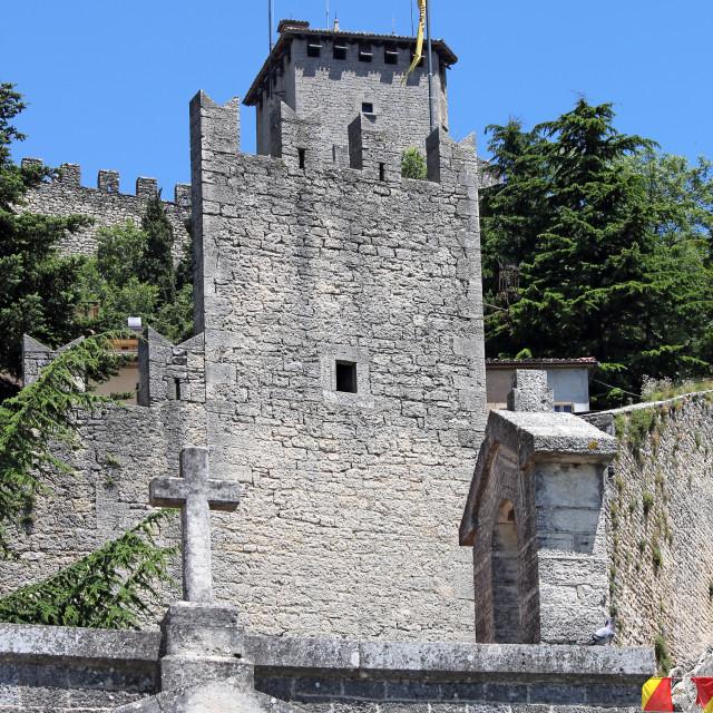 """Republic of San Marino fortress Italy"" stock image"