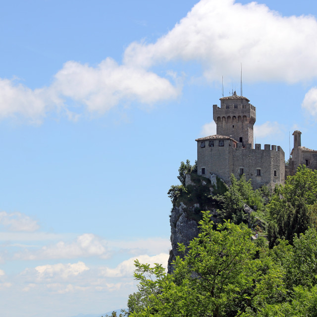 """second tower the Cesta or Fratta San Marino Italy"" stock image"