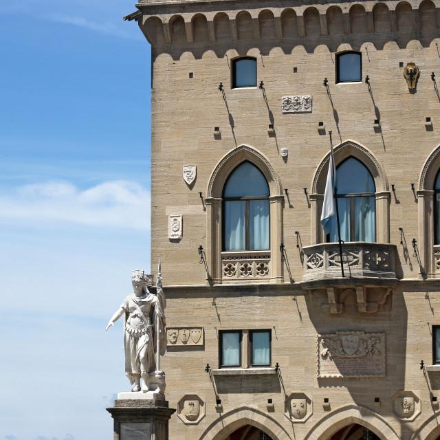 """statue of liberty and public palace San Marino Italy"" stock image"