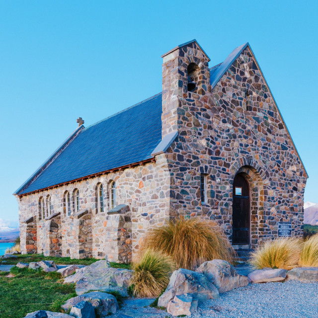 """Lake Tekapo Church. South, canterbury."" stock image"