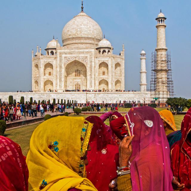 """Rajastani Women Taj Mahal"" stock image"