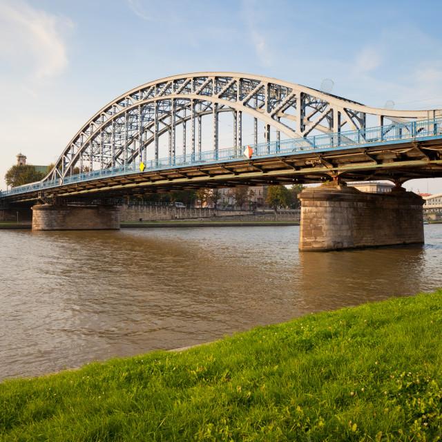 """""""Pilsudski Bridge on Vistula River in Krakow"""" stock image"""
