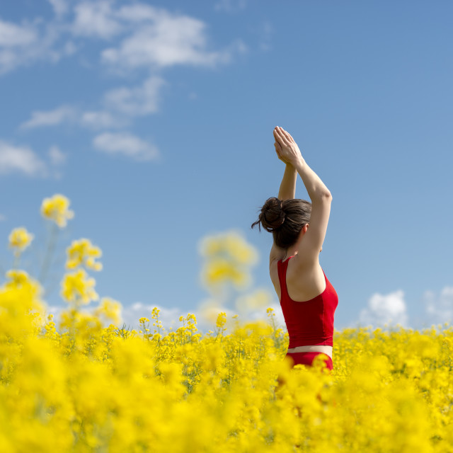 """""""woman wearing red standing in a yellow field with arms raised meditating."""" stock image"""