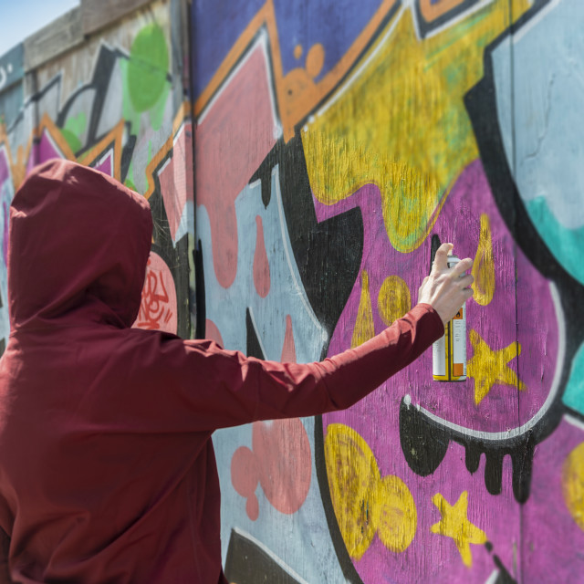 """""""back view of a person wearing a hoodie spraying graffiti on a wall, street crime concept."""" stock image"""