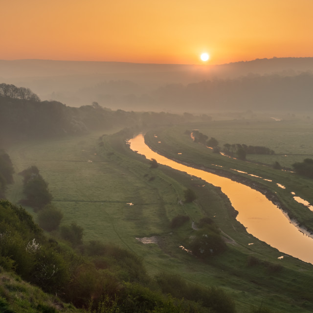 """River Cuckmere dawn"" stock image"
