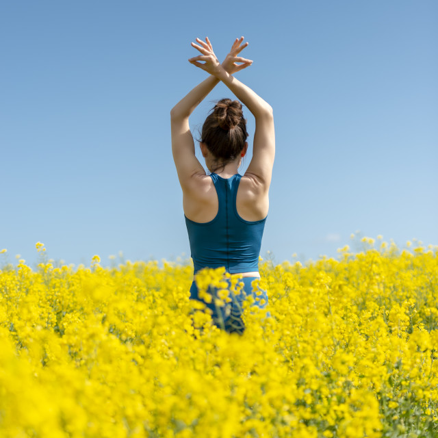 """""""back view of a young woman with arms raised in a yellow field"""" stock image"""