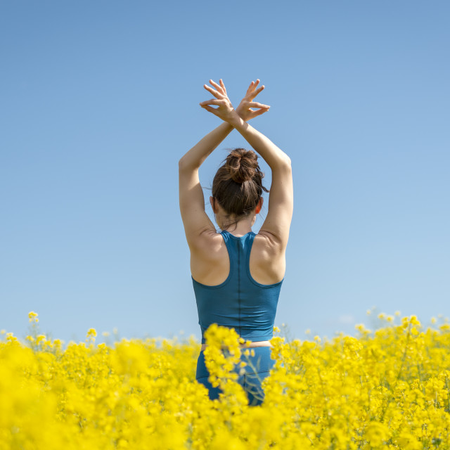 """back view of a young woman with arms raised in a yellow field"" stock image"