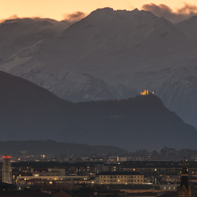 """""""Alps at sunset in Turin, Italy."""" stock image"""
