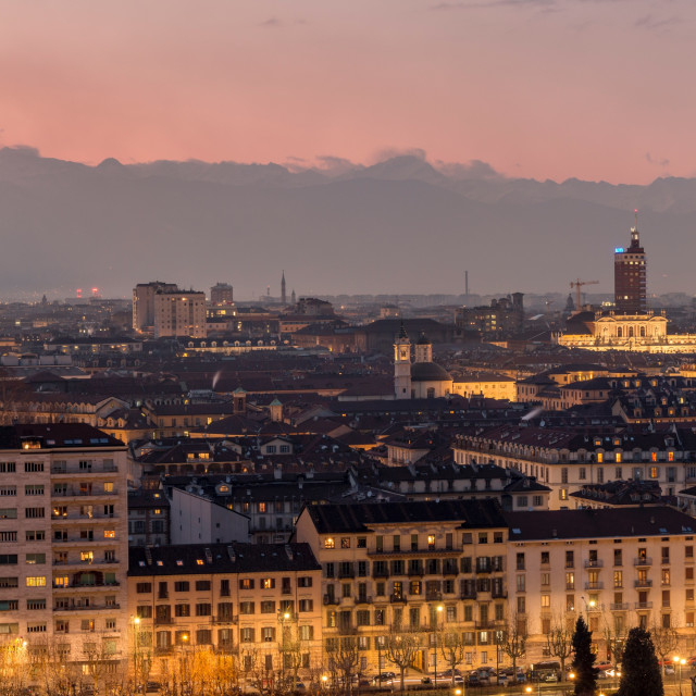 """Sunset panorama shot of Turin, Italy."" stock image"