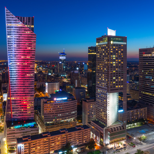 """City Center, Warsaw at night, capital of Poland"" stock image"