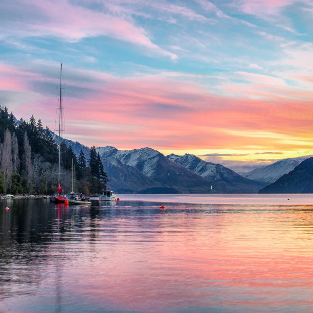 """Queenstown Sunset 2"" stock image"