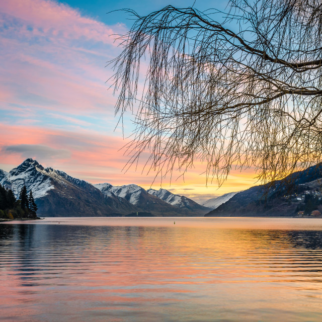 """Queenstown Sunset 1"" stock image"