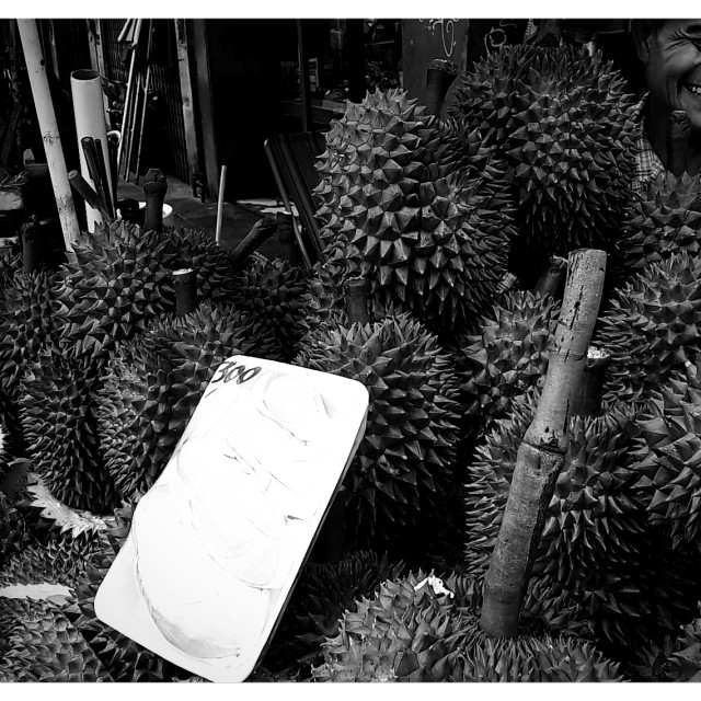 """""""The durian seller"""" stock image"""