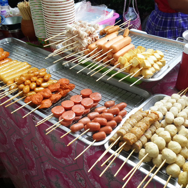 """""""Sausages and other skewers..."""" stock image"""