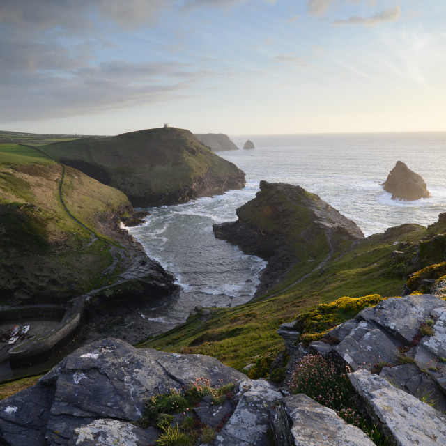 """boscastle at sunset"" stock image"