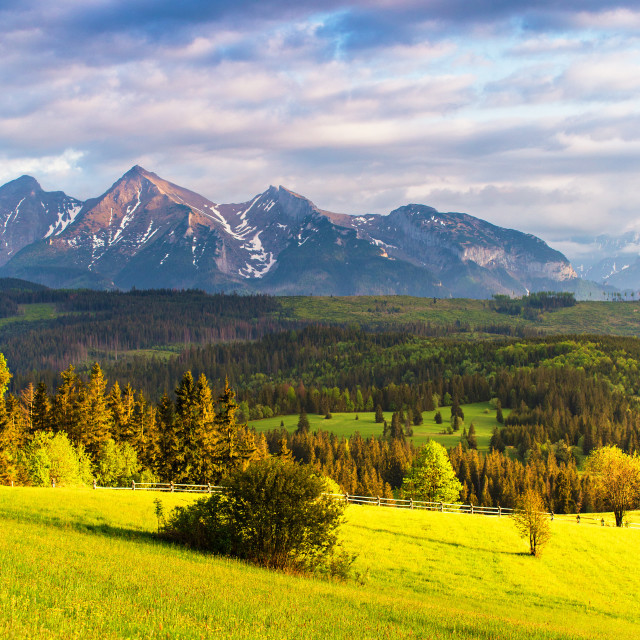 """Sunset in Tatra Mountains, Poland. Mountain ridge over cloudy sk"" stock image"