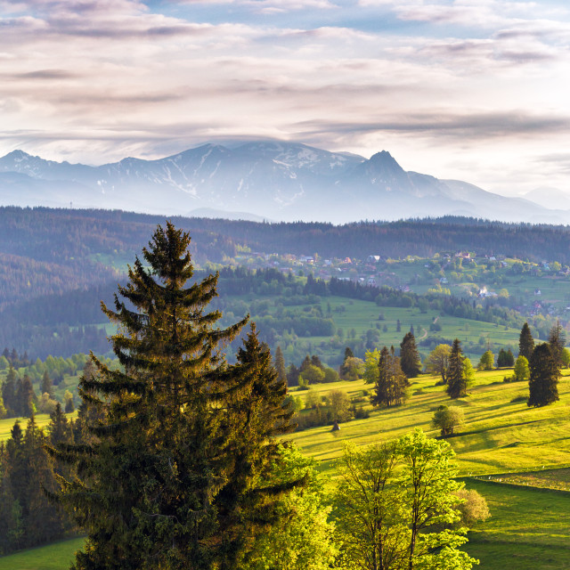"""Evening light in spring. Sunset in Tatra Mountains, Poland"" stock image"