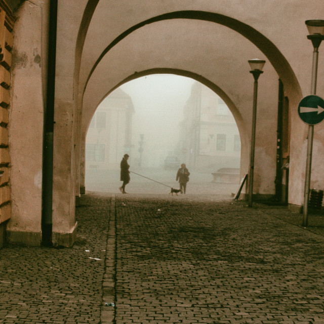 """under the arches in Bardejov"" stock image"
