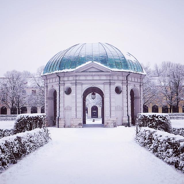 """Munich, Germany, Hofgarten round pavilion in winter"" stock image"