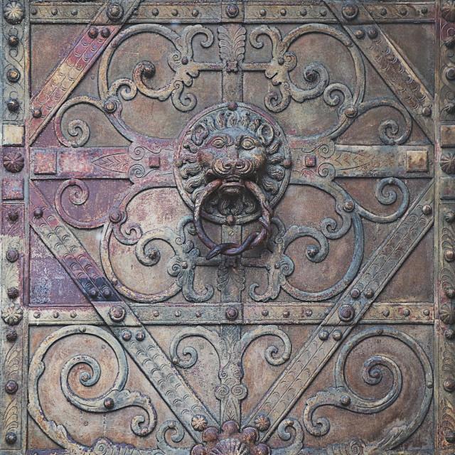 """""""Antique texture: door knocker on antique portal"""" stock image"""
