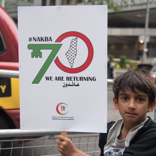 """""""Protest: 70 Years of #Nakba, Stand up for #Gaza, Stop the Killing, London, UK"""" stock image"""