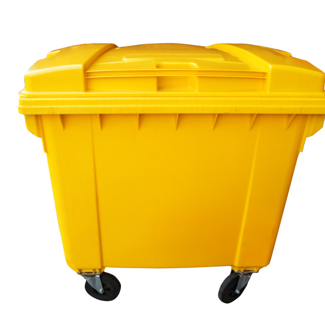 """""""Plastic public trash can or rubbish bin isolated on white, clipping path."""" stock image"""